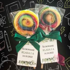 Słodycze dla dzieci - Pasowanie / Koniec roku szkolnego Lizak okrągły multikolor - personalizacja - dla dzieci - Ślubowanie