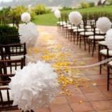 Papierowe kule kwiatowe pompony na wesele
