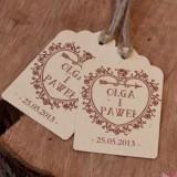 Bileciki do upominków weselnych personalizowane